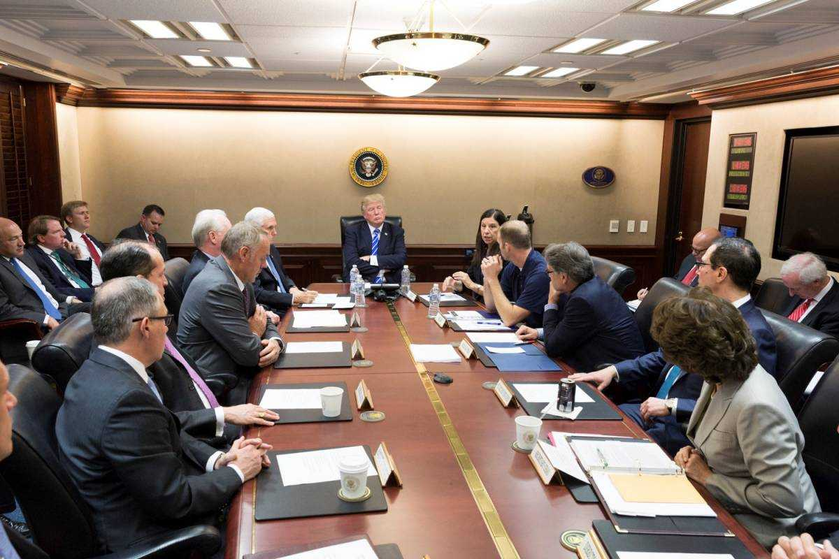 President Trump receives a briefing on Hurricane Maria relief and recovery efforts
