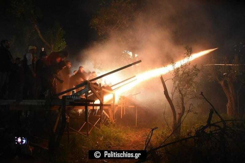 Φωτογραφίες και Βίντεο από τον «Ρουκετοπόλεμο» στον Βροντάδο της Χίου